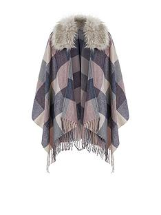 accessorize-check-faux-fur-trim-poncho