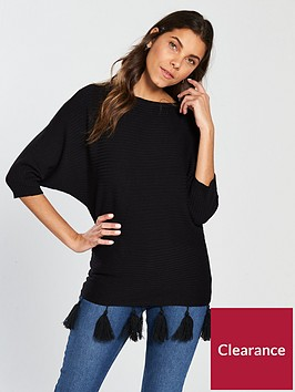 v-by-very-tassel-hem-rib-dolman-sleeve-jumper-black