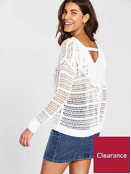 v-by-very-open-fringe-back-knit-ndash-white