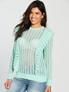 v-by-very-pointelle-frill-detail-jumper-mint-green