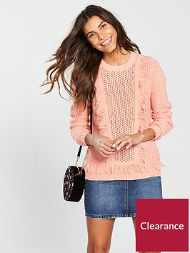 v-by-very-fringe-detail-jumper-peach