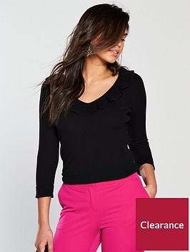 v-by-very-pointellenbspfrill-collar-and-cuff-v-neck-rib-jumper-black