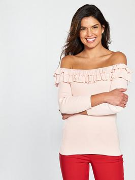 Photo of V by very frill bardot three-quarter sleeve rib jumper - blush pink
