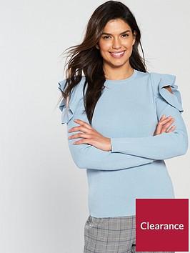 v-by-very-frill-cold-shouldernbspjumper-soft-blue