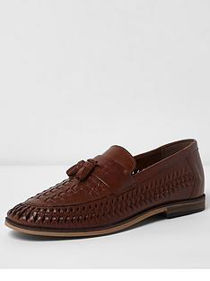 river-island-river-island-leather-woven-tassel-loafers