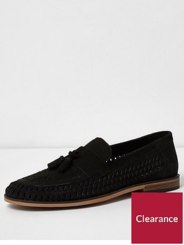 river-island-black-suede-woven-tassel-loafers