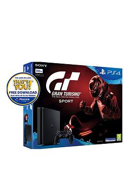 Image of Playstation 4 Slim 500Gb Console With Gt Sport Plus Optional Extra Controller And/Or 12 Months Playstation Network - Ps4 500Gb Black Slim Console With Gt Sport