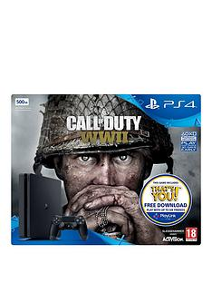 playstation-4-slim-500gbnbspconsole-with-call-of-duty-wwiinbspplus-optional-extra-controller-andor-12-months-playstation-network