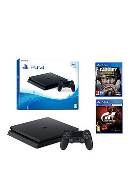 Image of Playstation 4 Slim 500Gb Console With Call Of Duty Wwii And Gt Sport Plus Optional Extra Controller And/Or 12 Months Playstation Network - Ps4 500Gb Black Slim Console With Call Of Duty Wwii, Gt Sport