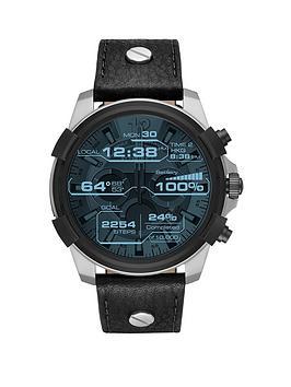 diesel-diesel-on-full-guard-silver-stainless-steel-black-leather-touchscreen-smartwatch