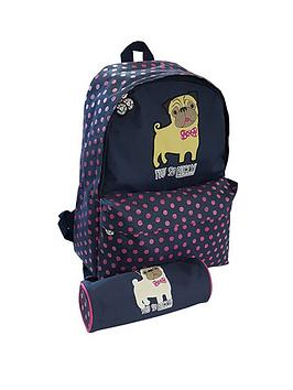 David & Goliath You So Pugly Backpack And Pencil Case Set