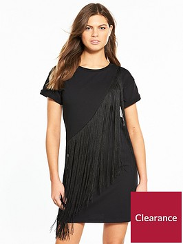miss-selfridge-fringed-t-shirt-dress-blacknbsp