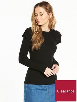 v-by-very-pleat-shoulder-skinny-rib-jumper-black