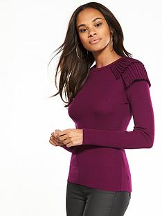 v-by-very-pleat-shoulder-skinny-rib-jumper