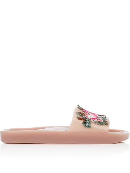 506012405f2fd6 Melissa Flower Pixel Beach Slides - Blush