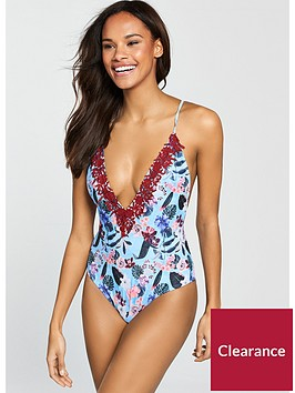 south-beach-rodeo-plunge-front-swimsuit-with-lace-appliqueacute--nbspfloral-printnbsp