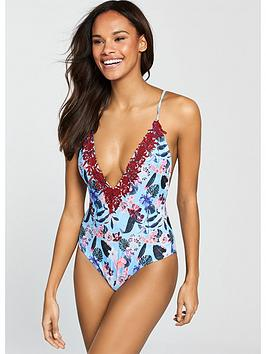 South Beach Rodeo Plunge Front Swimsuit With Lace AppliquÉ - Floral Print