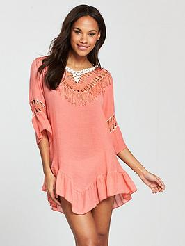 South Beach Low Back Crochet Tassel Beach Dress - Peach
