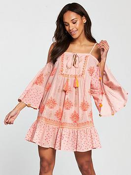 south-beach-cold-shoulder-printed-beach-dress-with-pom-pom-sleeve-trim-pink