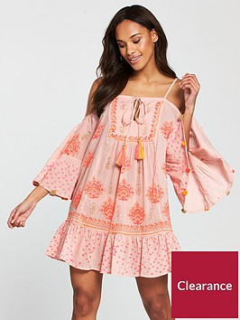 south-beach-cold-shoulder-printed-beach-dress-with-pom-pom-sleeve-trim-pink
