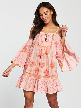 South Beach Cold Shoulder Printed Beach Dress With Pom Pom Sleeve Trim - Pink