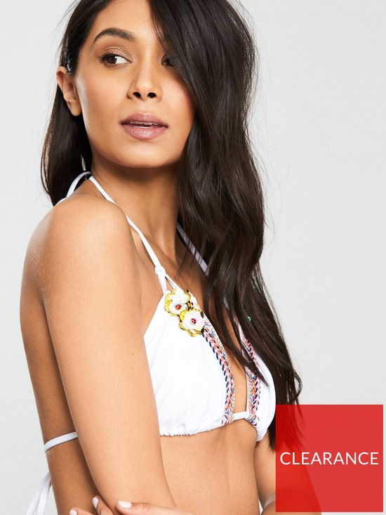 d6b709ffe3 ... South Beach Fantasy Triangle Bikini With Embroidery Trim And  Embellishment - White. View larger