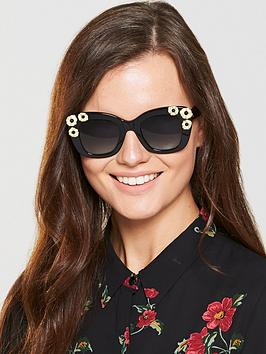 Kate Spade New York Kate Spade Drystle Black Flower Sunglasses