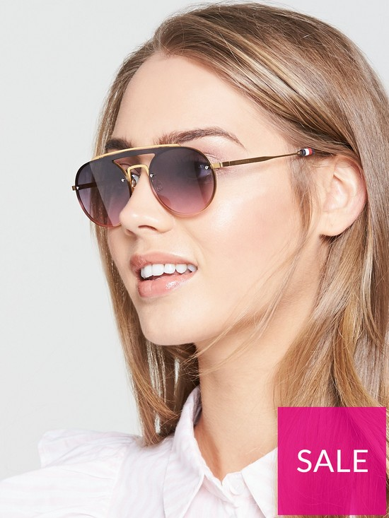 41257a3811a5 Tommy Hilfiger Brow Bar Sunglasses - Black/Gold   very.co.uk