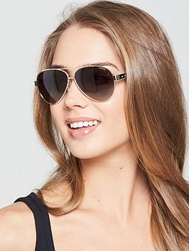 Polaroid Brow Bar Aviator Sunglasses - Black/Gold