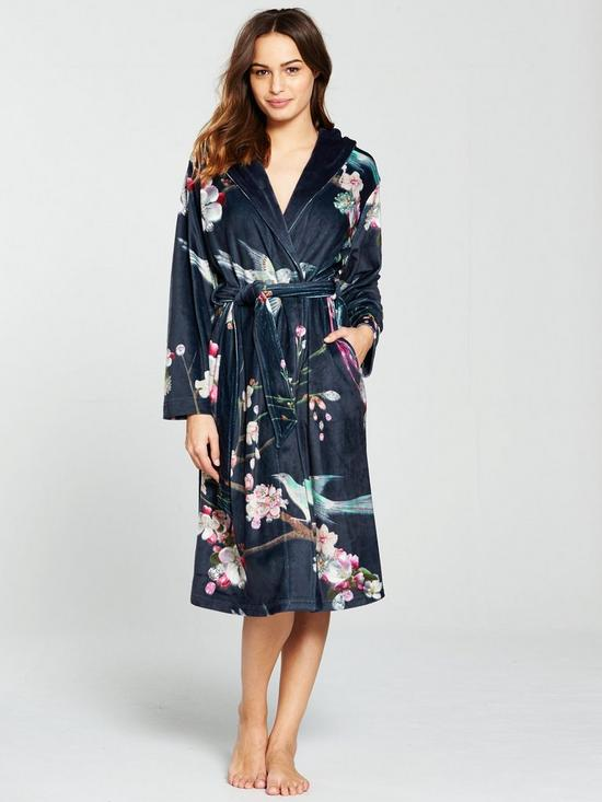 B By Ted Baker Flight of The Orient Long Robe - Navy | very.co.uk