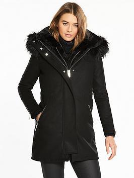 river-island-river-island-faux-fur-3-in-1-gilet-lined-parka-coat--black