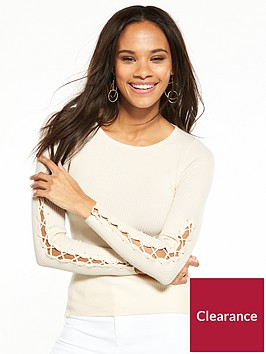 river-island-lace-up-jumper--cream