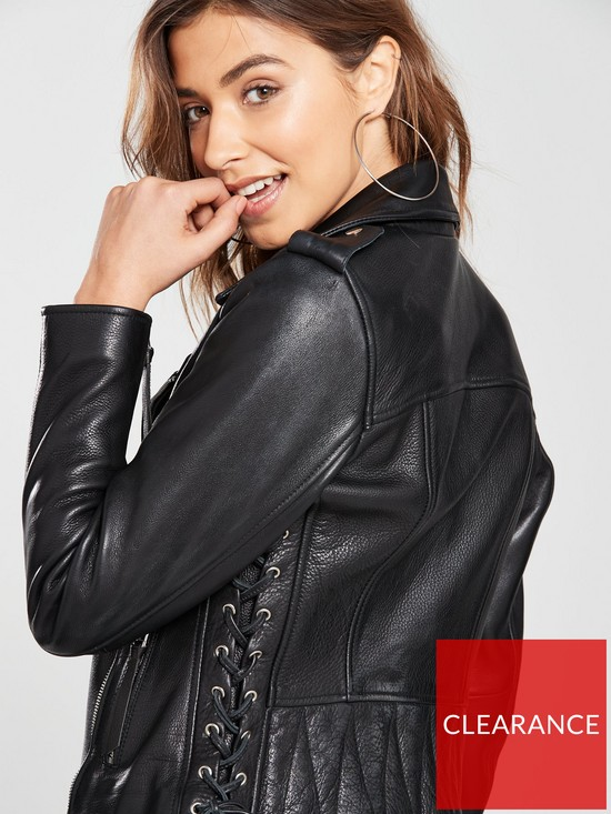 605862afa1a V by Very Luxury Leather Lace Up Jacket