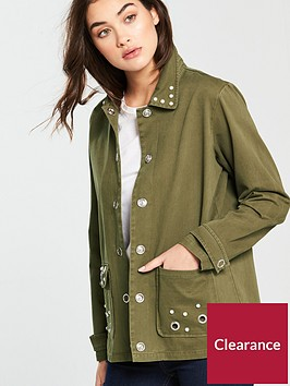 v-by-very-pearl-and-eyelet-utility-shacket-khaki