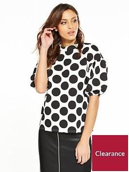 v-by-very-balloon-sleeve-top-spot-print