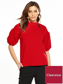 v-by-very-balloon-sleeve-top-red