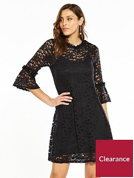 v-by-very-lace-fluted-sleeve-dress