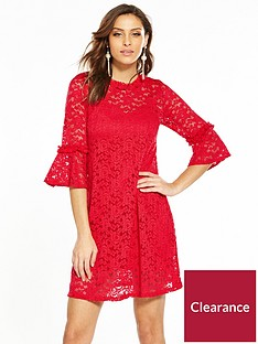v-by-very-lace-fluted-sleeve-dress-deep-red