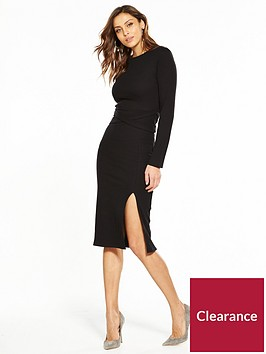 v-by-very-tie-waist-rib-midi-dress