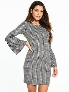v-by-very-check-fluted-sleeve-dress