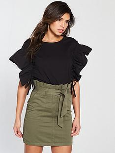v-by-very-ruched-drawstring-sleeve-top-black