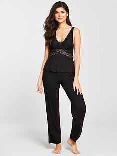 v-by-very-lace-pj-set-black