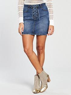 v-by-very-lace-up-fly-denim-skirt