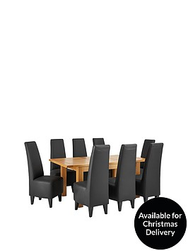 oakland-140-180-cm-solid-wood-extending-dining-table-8-manhattan-chairs