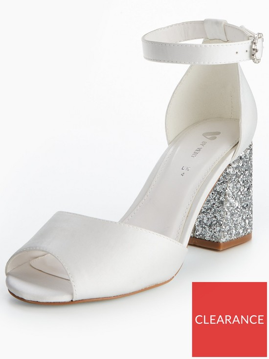 fb8a117e014 V by Very Lily Bridal Glitter Block Heel Sandal - White
