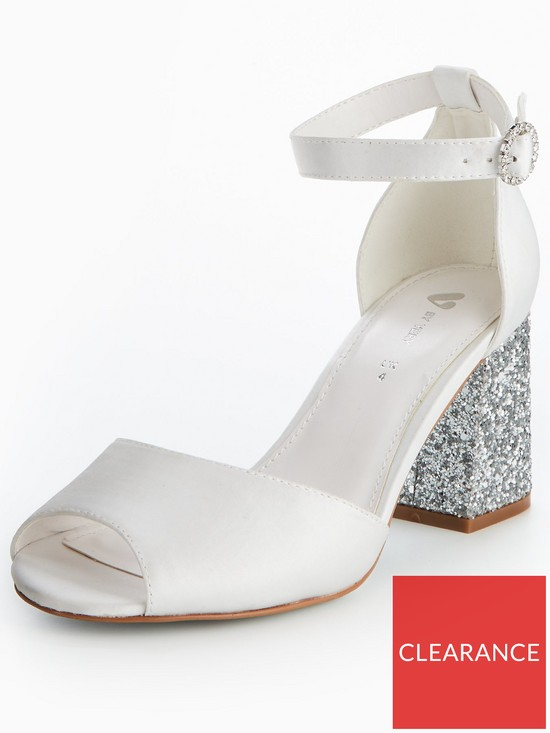 a24cc7f2087 V by Very Lily Wide Fit Bridal Glitter Block Heel Sandal - White ...