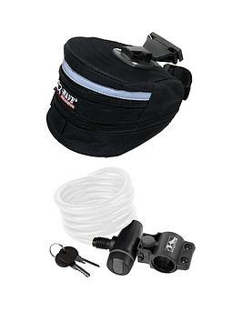 Image of M-Wave Expanding Seat Bag And Spiral Cable Bike Lock Set