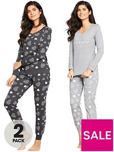 v-by-very-2-pack-heart-print-long-sleeve-pyjamas