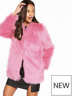 miss-selfridge-faux-fur-coat-pink