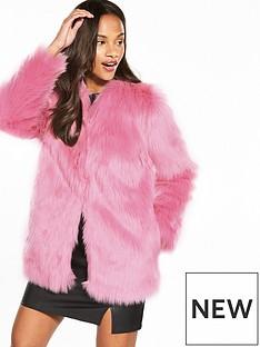 miss-selfridge-faux-fur-coat-pink